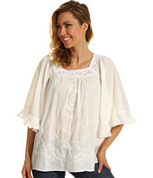 Roper - Blue Belle Group Peasant Blouse in Soft Cotton Lawn with Cluny Lace