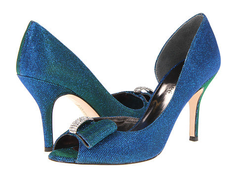 Blue embellished pump for large feet