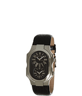 Philip Stein - Large Signature Watch On Black Grainy Calf Strap
