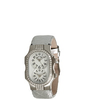 Philip Stein - Small Signature Double Diamond Watch On Silver Satin Snake Strap