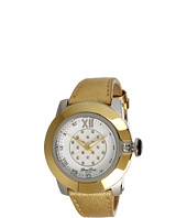 Glam Rock - SoBe 44mm Stainless Steel Gold Plated Watch with Saffiano Strap- GR32002