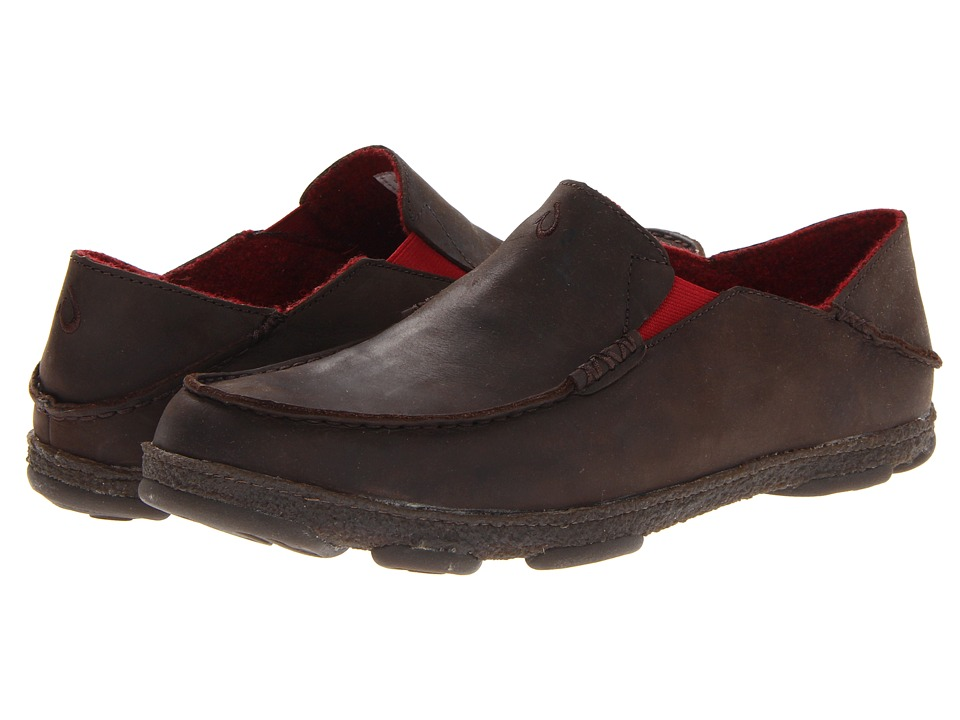 OluKai Moloa Kohana Fall 13 Dark Wood/Dark Wood Mens Slip on Shoes