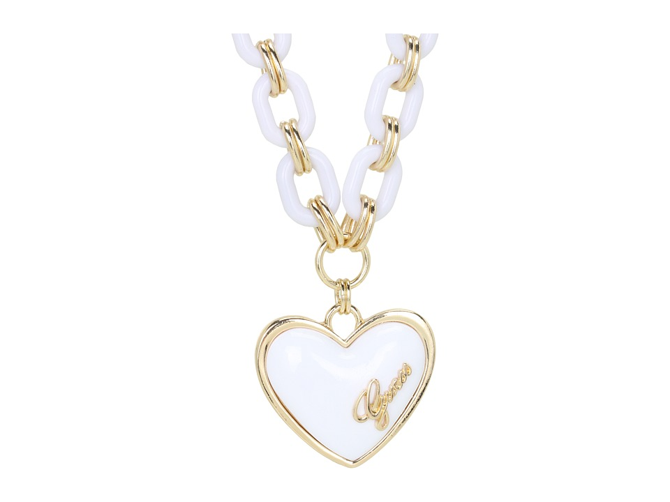 GUESS - Plastic Link Puffy Heart Necklace (Gold/White) Necklace
