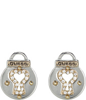 GUESS - Keyhole Padlock Button Earrings