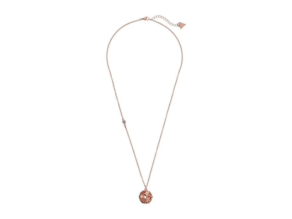 GUESS - Cutout Flower Ball Pendant (Rose Gold) Necklace
