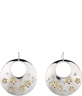 GUESS - Cutout Disc Drop Earrings w/ Flowers