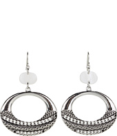 GUESS - Textured Ring Drop Earrings w/ Mother Of Pearl