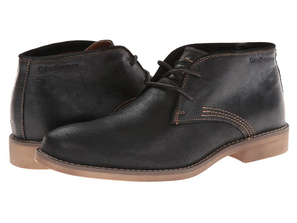 Calvin Klein Jeans Orrick Black Leather Mens Lace up Boots