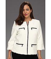 MICHAEL Michael Kors Plus - Plus Size Twisted Frayed Zip Jacket