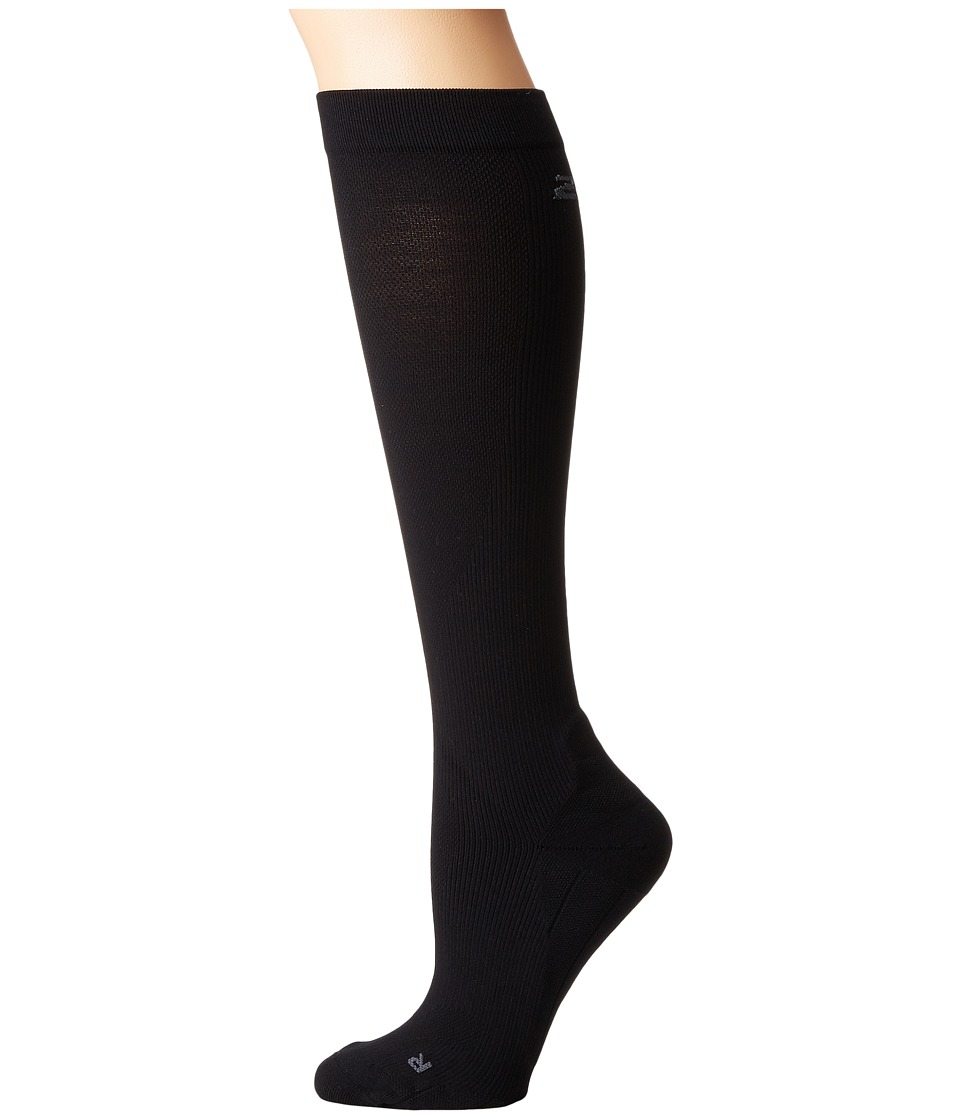 2XU Compression Performance Run Sock Black/Black Womens Knee High Socks Shoes
