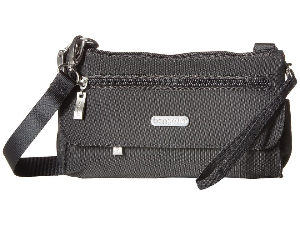 Baggallini Plaza Mini Charcoal/Fuschia Cross Body Handbags