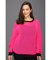 MICHAEL Michael Kors Plus - Plus Size Mesh L/S Colorblocked Sweater