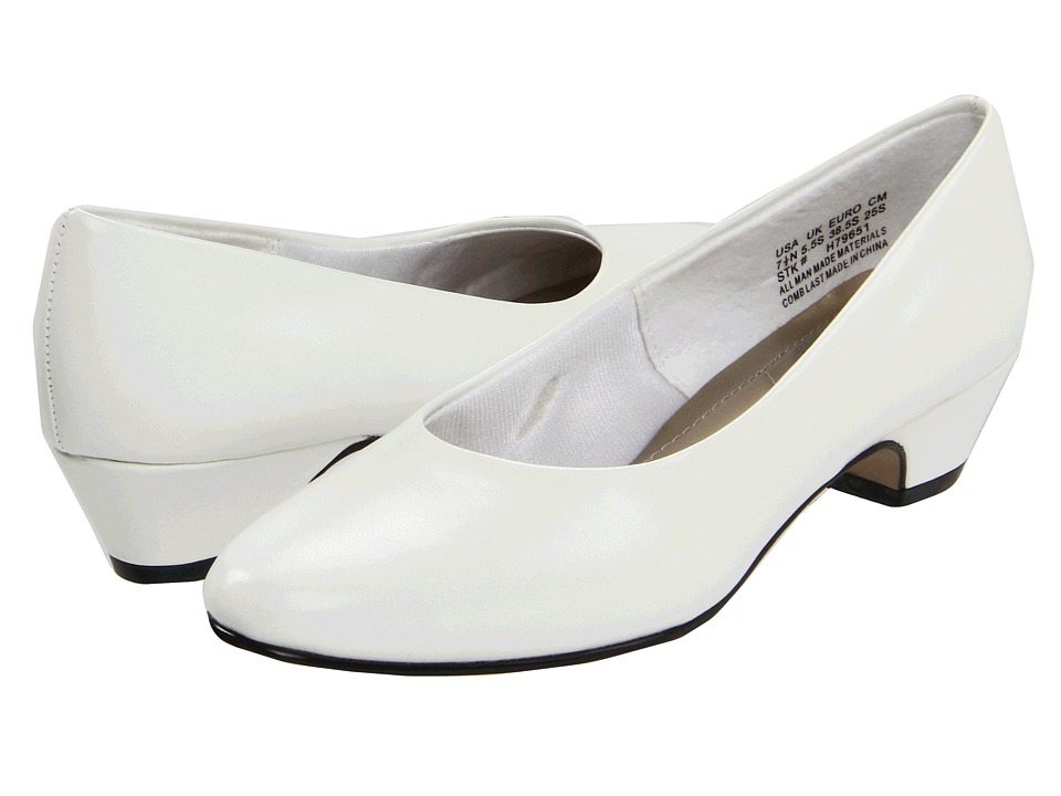 1930s Style Wedding Dresses Soft Style - Angel II White Smooth Womens 1-2 inch heel Shoes $49.00 AT vintagedancer.com