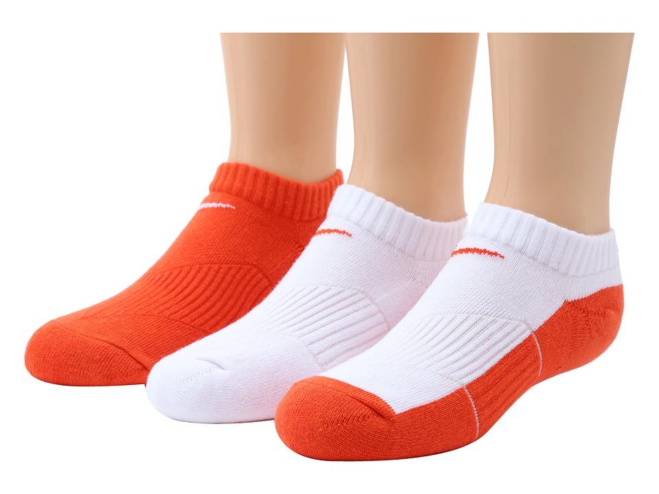 Nike Kids Cotton Cushion No Show Socks w/ Moisture Management 3 Pair Pack Little Kid/Big Kid Team Orange/White/Team Orange Kids Shoes