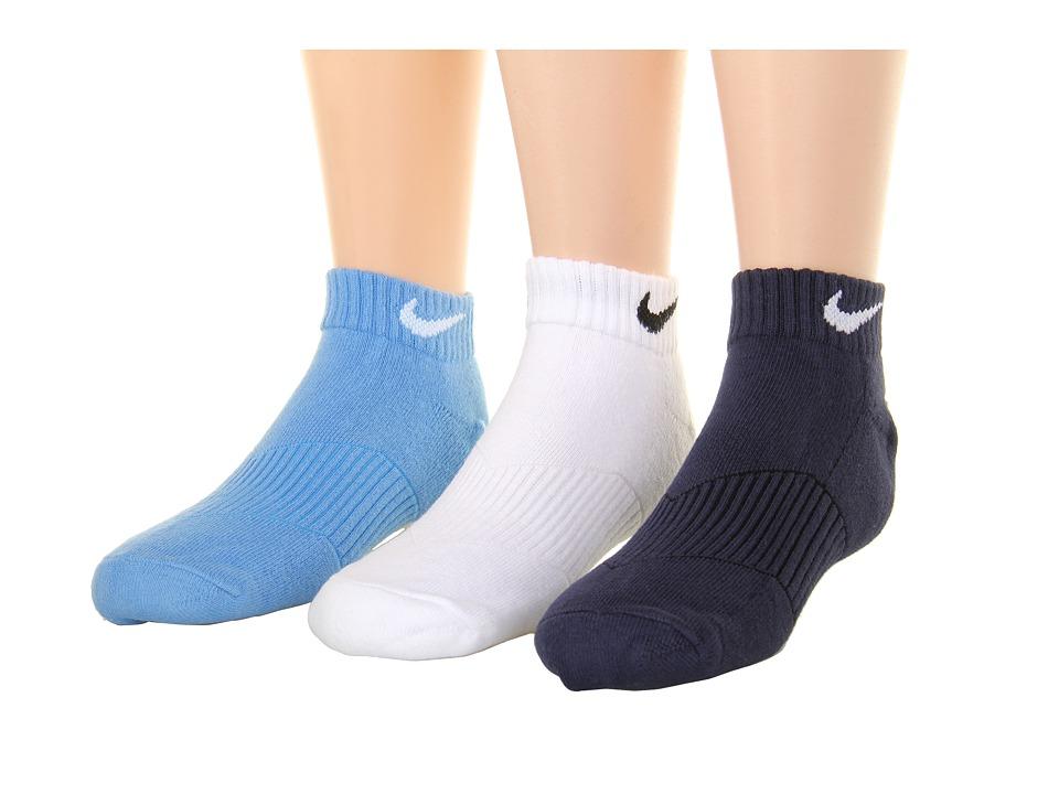 Nike Kids Cotton Cushion Moisture Management Low Cut 3 Pair Pack Little Kid/Big Kid University Blue/White/Obsidian Boys Shoes