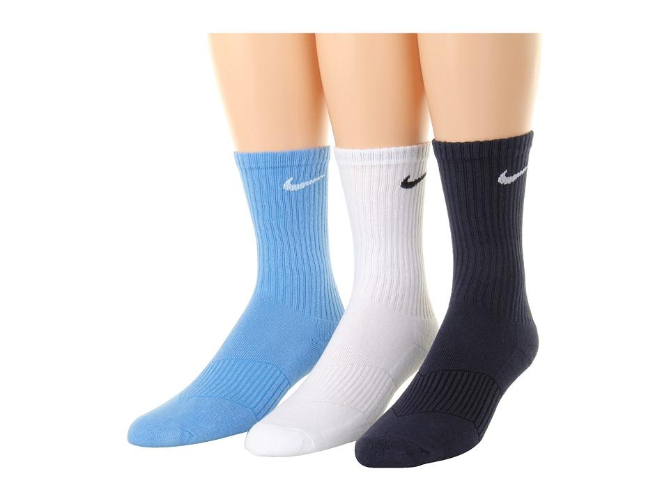 Nike Kids Cotton Cushion Moisture Management Crew Sock 3 Pair Pack Little Kid/Big Kid University Blue/White/Obsidian Boys Shoes