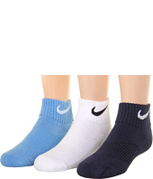 Nike Kids - Youth Cotton Cushion Quarter Length Socks w/ Moisture Management 3-Pair Pack