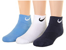 Nike Kids Cotton Cushion Quarter Length Socks w/ Moisture Management 3-Pair Pack