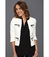 MICHAEL Michael Kors Petite - Petite Tweed Fray Zip Jacket