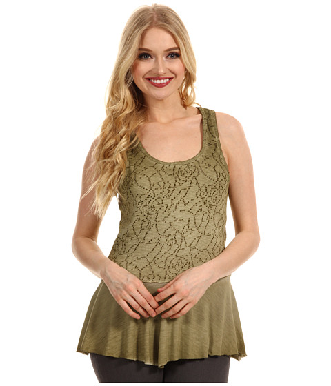 Free People - Rally Perforated Peplum Top (Olive) - Apparel