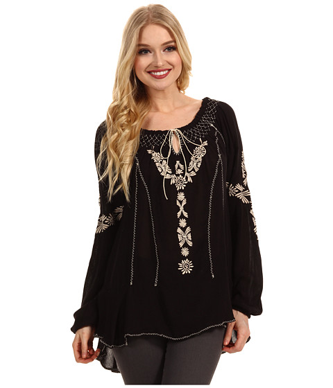 Free People - Rolling Stone Peasant Top (Black Combo) - Apparel