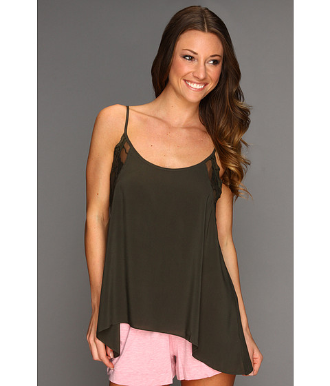 Free People - Lace Insert Swing Cami (Army) - Apparel