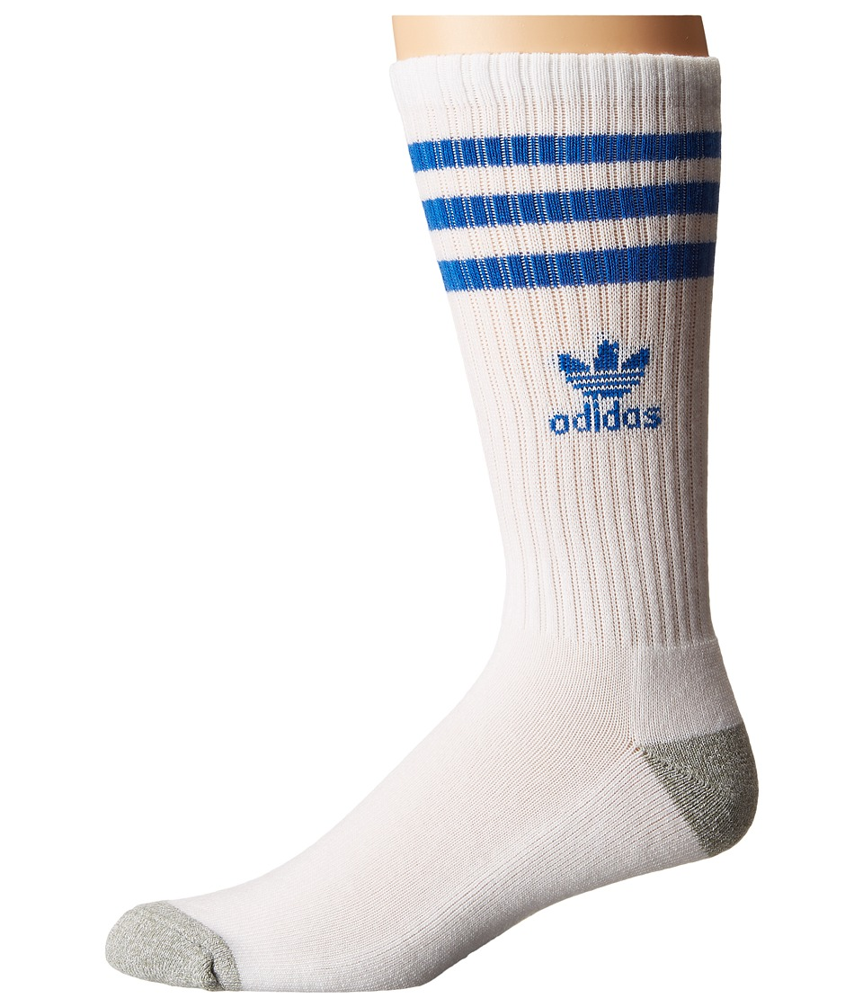 adidas - Original Roller Crew Sock 1-Pair Pack (White/Bluebird/Heather Aluminum) Men's Crew Cut Socks Shoes
