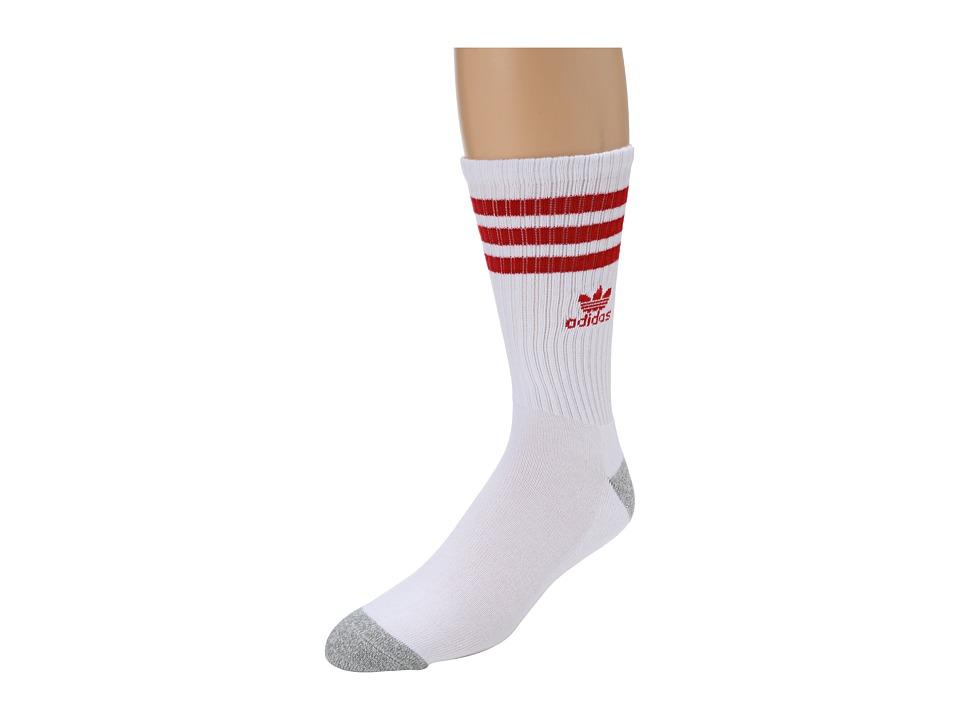 adidas - Original Roller Crew Sock 1-Pair Pack (White/Light Scarlet/Heather Aluminum) Men's Crew Cut Socks Shoes