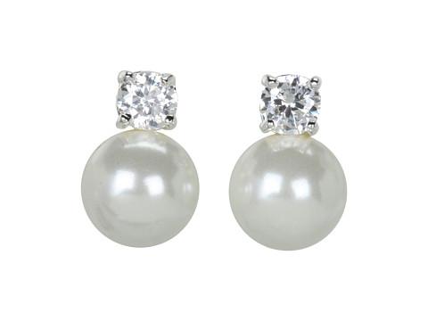 LAUREN Ralph Lauren Pearl Button Studs w/Cubic Zirconia Stones - White