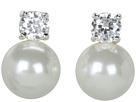 LAUREN Ralph Lauren Pearl Button Studs w/Cubic Zirconia Stones