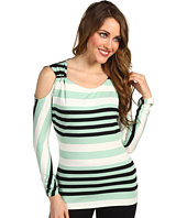 Vince Camuto - Cutaway Shoulder Varied Stripe Top