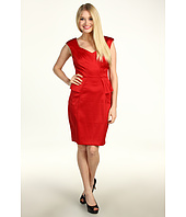 London Times - V-Neck Peplum Sheath Dress