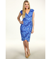 London Times - Cap Sleeve V-Neck Rouched Drawstring Waist Dress