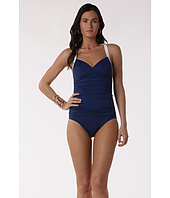 LAUREN Ralph Lauren - Bell Aire Solids Shirred Surplice Halter Mio Slimming Fit
