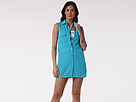 LAUREN Ralph Lauren - Crushed Cotton S/L Shirtdress (Resort Blue)