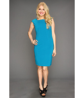 Ellen Tracy - Checked Neck Bistretch Sheath Dress