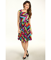 Ellen Tracy - Asymmetrical Neck Printed Jersey Dress