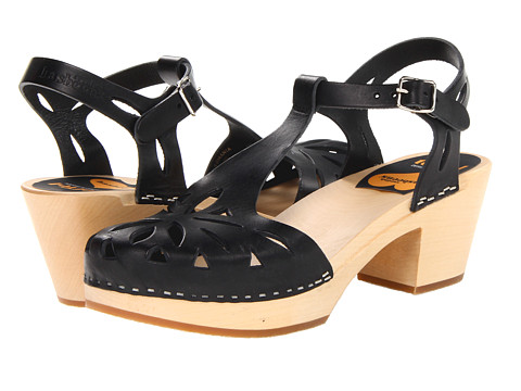 Swedish Hasbeens Lacy Sandal - Black/Nature