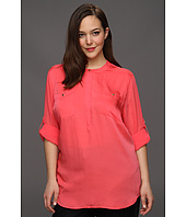 DKNYC - Plus Size Long Roll Sleeve Blouse W.C