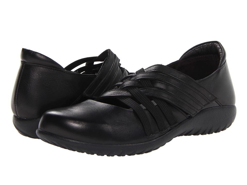 Naot - Kawaka (Black Raven Leather/Black Patent Leather) Womens Flat Shoes