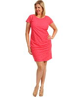 DKNYC - Plus Size Cap Sleeve Dress w/ Side Drape