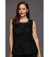 DKNYC - Plus Size Sleeveless Peplum Top w/ Embellishment