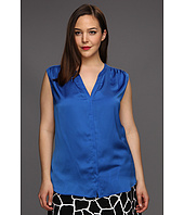 DKNYC - Plus Size Sleeveless V-Neck Button Thru Shirt