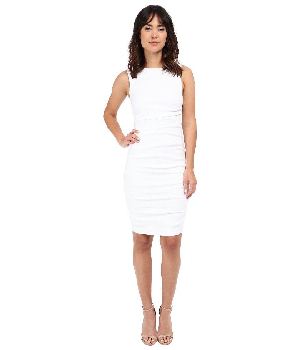 Nicole Miller Lauren Stretch Linen Dress (White) Women