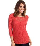 Three Dots - 3/4 Sleeve Lace Front British Tee