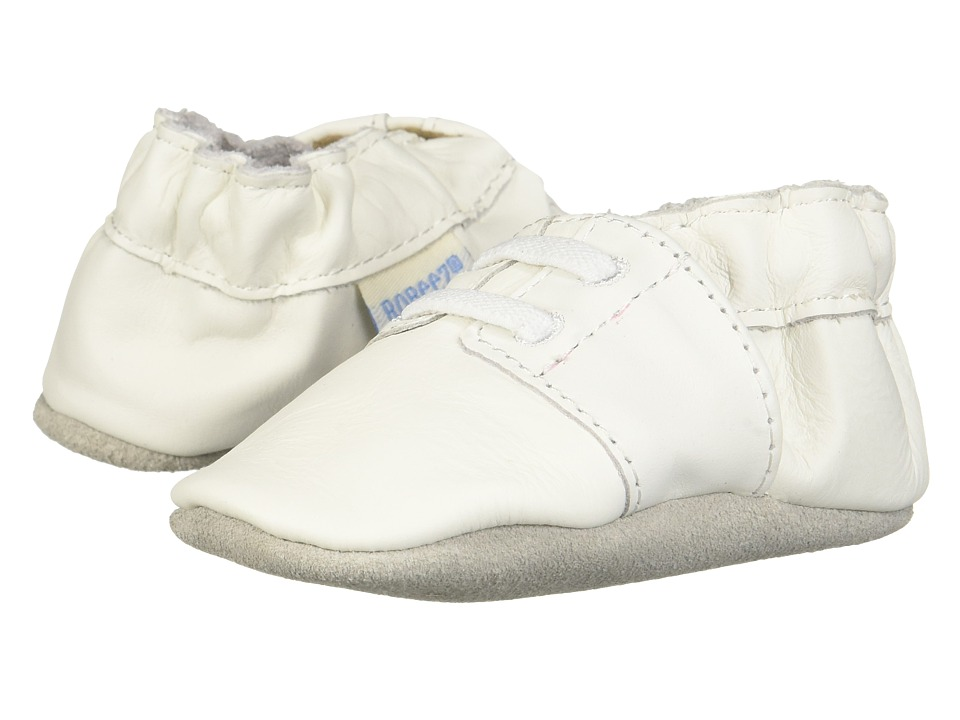 Robeez - Special Occasion Soft Soles (Infant) (White Smooth/Black) Boys Shoes