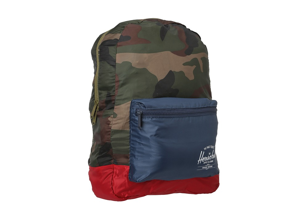 Herschel Supply Co. - Packable Daypack (Woodland Camo/Navy/Red) Backpack Bags