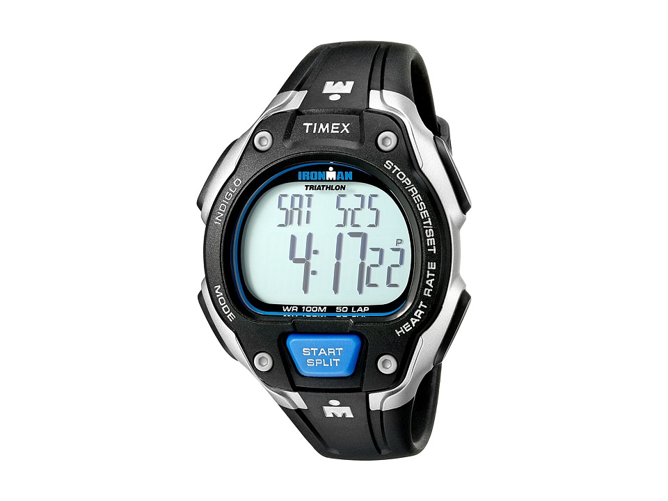 Timex - IRONMAN Road Trainer Heart Rate Monitor Black/Silver-Tone/Blue Resin Strap Watch (Black/Silver/Blue) Watches
