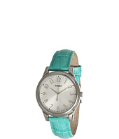 Timex - Mix It Silver/White Dial, Blue Croco Patterned Leather Strap Watch