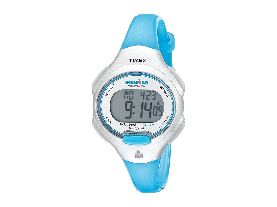 Timex - IRONMAN(r) Traditional 10-Lap Mid-Size Resin Strap Watch (Blue) Digital Watches